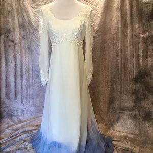 Hand Dyed Dipped Watercolor Ivory Wedding Dress